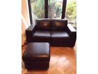 Dark Brown Leather Sofa's & Footstool