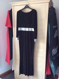 Black maxi dress with silver trim