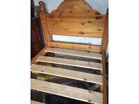 Solid single pine bed
