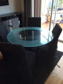 Great condition glass dining table and 4 chairs