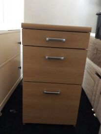 Chest of 3 drawers, was part of desk unit. Colour: Beech co
