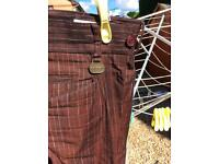 Stromberg wine checked golf trousers 36x30