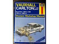 Haynes Manual For Vauxhall Carlton, 86-89
