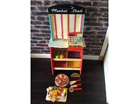 Kids Solid wood play market stall.