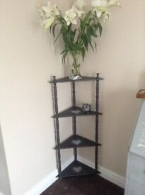 Corner storage display shelving in grey with shabby chic heart detail