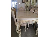 ORNATE ITALIAN SILIK DINING TABLE AND SIX CHAIRS