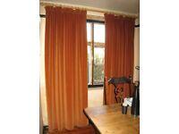 "Two Pairs of Terracotta Brick Colour Cotton Velvet Curtains ~ 81""long x 48""wide & 78""long x 48""wide"