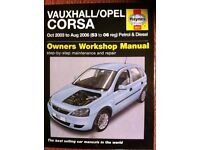 Haynes Manual For Vauxhall Corsa C, 03 to 06