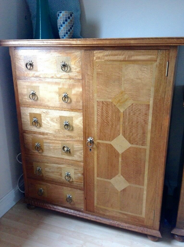 Wardrobe With Drawers Mango Wood And Stone Inlay In