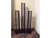 3 Black Metal Freestanding CD towers
