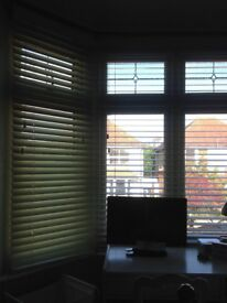 Two same size wooden cream slated blinds