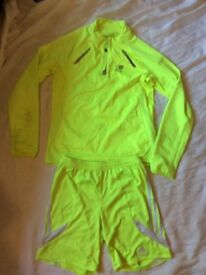 Kids running tops and shorts, nike pro and karrimor
