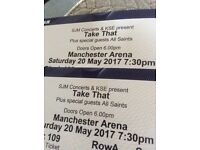 £210 for both seats FANTASTIC FRONT ROW 2x Tickets TAKE THAT Manchester Sat. May 20th