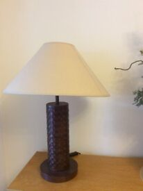 Lamp, leather stand, neutral shade