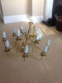 Large brass Endon chandelier and 4 side lights