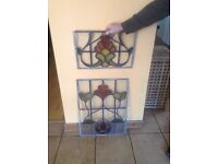 PAIR OF STAINED GLASS LEADED WINDOWS
