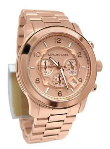 NEW - Michael Kors 'Large Runway' Rose Gold Plated women's watch