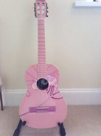 Stunning pink Dragonfly Stagg 1/2 size guitar