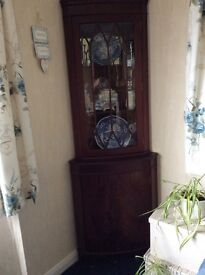 Corner display cabinet. Suitable for shabby chic painting.