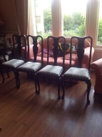 Four vintage chairs, seats recently recovered