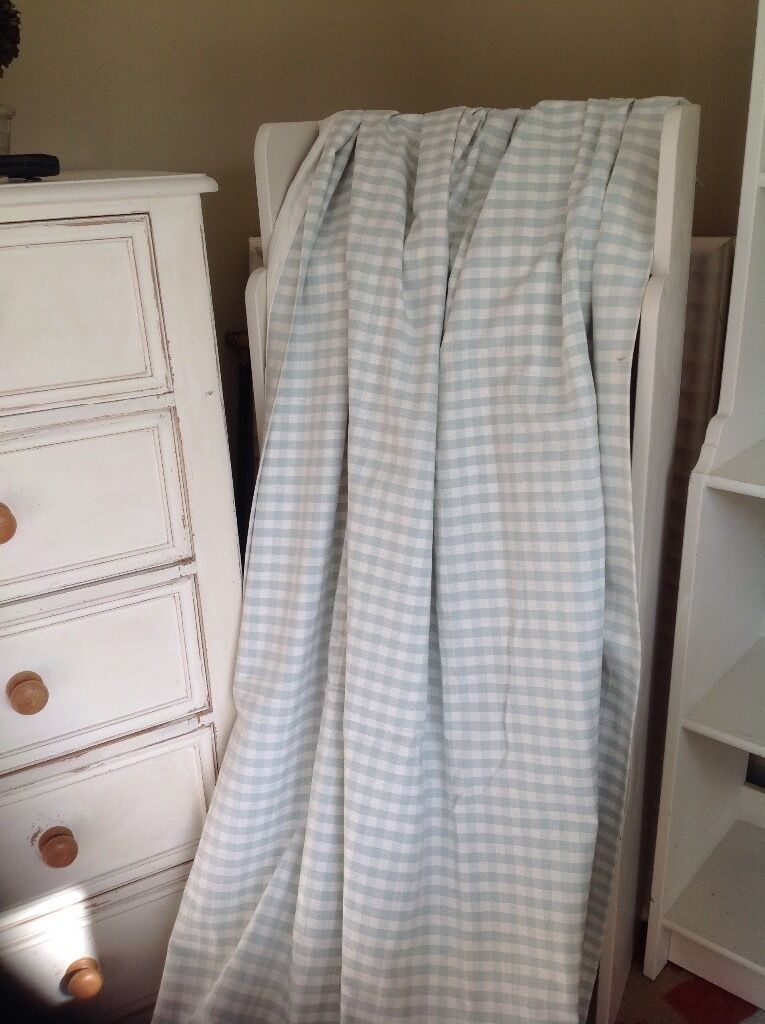 Laura Ashley Duck Egg Blue Gingham Curtains In