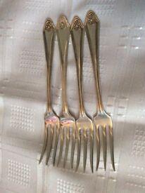 4 Silver Plated Cake / Dessert Forks.