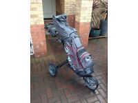 Easy Push 3 Wheel Golf Trolley with Waterproof Golf Bag