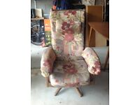 Ercol recliner chair with stool