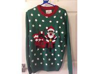 Gents Xmas sweater, green with Santa motif