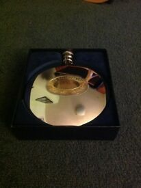 BURNS SUPPER DALVEY HIP FLASK, POLISHED STAINLESS STEEL COMPLETE INTEGRAL FOLDING DRINKING CUP,