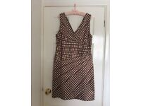 Phase Eight praline and cream spot dress Size 18
