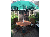 Garden Furniture: Table, Chairs and Parasol