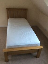 Solid Oak single bed with mattress