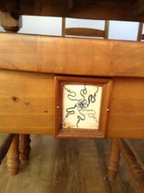 """Solid Pine Dinning Table and 6 Chairs with tiled detail W 41""""L68""""H30"""""""