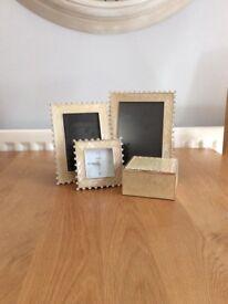 Cream & Diamanté Photo Frames, Clock & Trinket Box Set