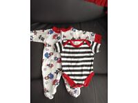 (Newborn) Baby Pirate body suit and Sleepsuit