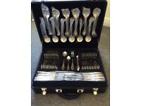 22k Gold Edged 18/10 12 x 7 Place Settings Canteen of Cutlery plus 12 Steak Knives