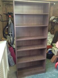 Walnut bookshelf. Very heavy wooden storage.