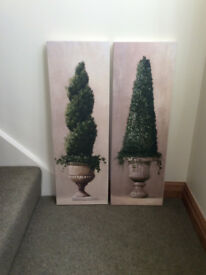 Pair of Canvas Wall Prints - Roman Topiary