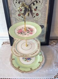 Pretty Green and Gold Floral 3 Tier Cake Stand