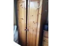 Pine wardrobe and drawers