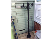 BLACK METAL GARDEN LAMP POST SUITABLE FOR HANGING BASKETS ( 3 ARMS ) 5 FT HIGH