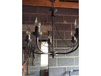 5 arms gun metal chandelier light