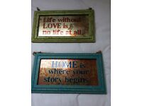 Distressed frame/ vintage look glass pictures- brand new