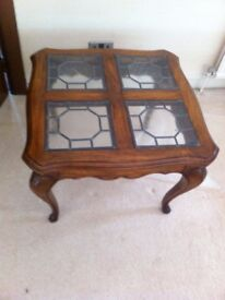 Living Room Oak Side Table With Polished Finish For Sale - Two Available