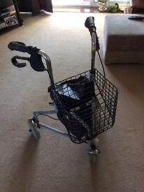 Folding 3 wheeled walker with basket
