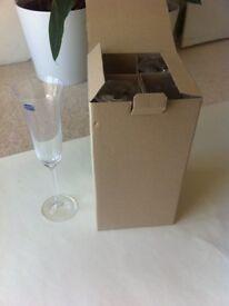 Bohemian Crystal Set of 4 Champagne Flutes Crystal Glasses
