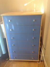 Blue Chest of drawers and wardrobe