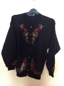 Vintage Wool Cardigan With Mouse Detailing