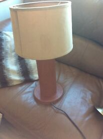 Tan leather lamp suede shade